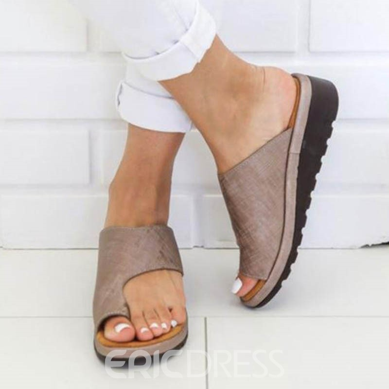 Ericdress PU Toe Ring Wedge Heel Women's Flat Sandals