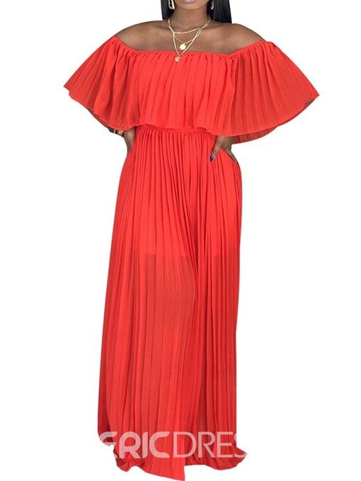 Ericdress Pleated Floor-Length Off Shoulder Regular Summer Chiffon Dress