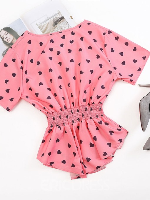 Ericdress Plus Size Heart Shaped V-Neck Pleated Short Sleeve Blouse