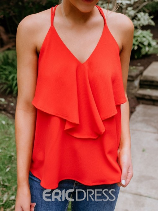 Ericdress Polyester V-Neck Backless Standard Sexy Tank Top