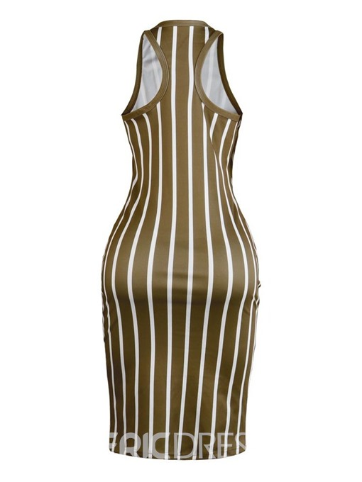 Ericdress Striped Color Block Sexy Mid-Calf Sleeveless Summer Sheath Dress