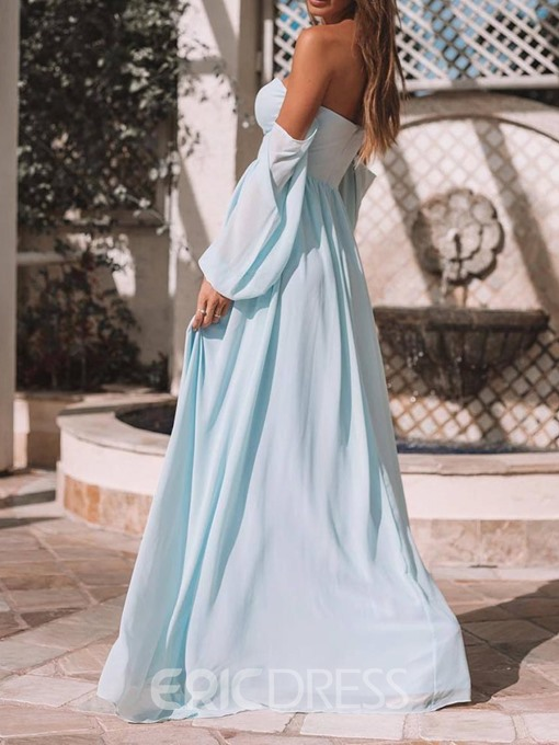 Ericdress Strapless Lantern Sleeve Split Floor-Length Light Bluet Chiffon Dress