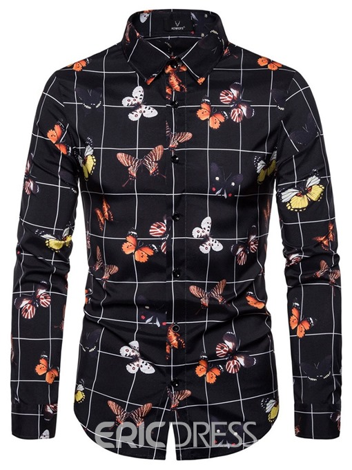 Ericdress Fashion Button Color Block Slim Men's Single-Breasted Shirt