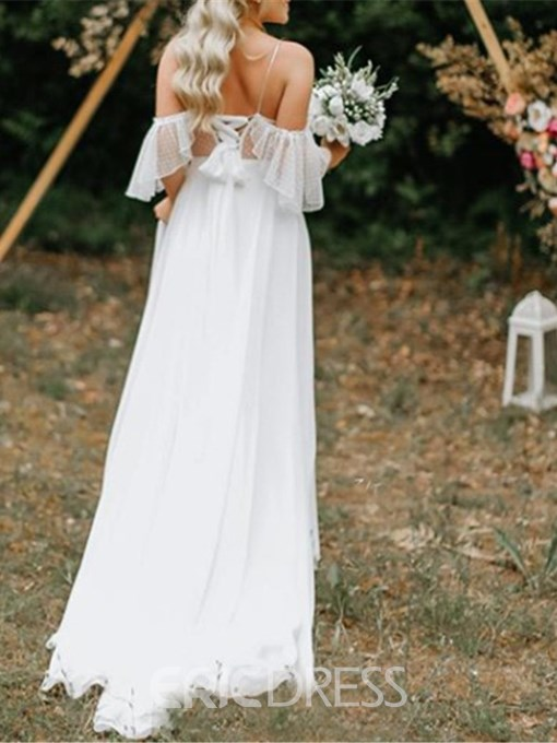 Ericdress Open Shoulder Appliques Country Wedding Dress