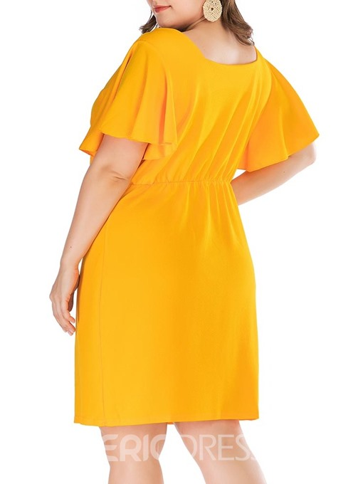 Ericdress Plus Size Short Sleeve Above Knee Square Neck Summer Date Night Dress