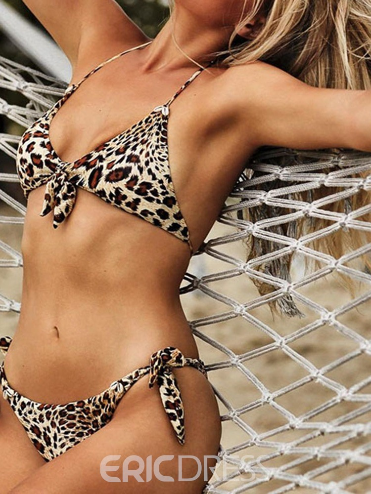 Ericdress Bikini Set Leopard Beach Look Bowknot Swimsuit