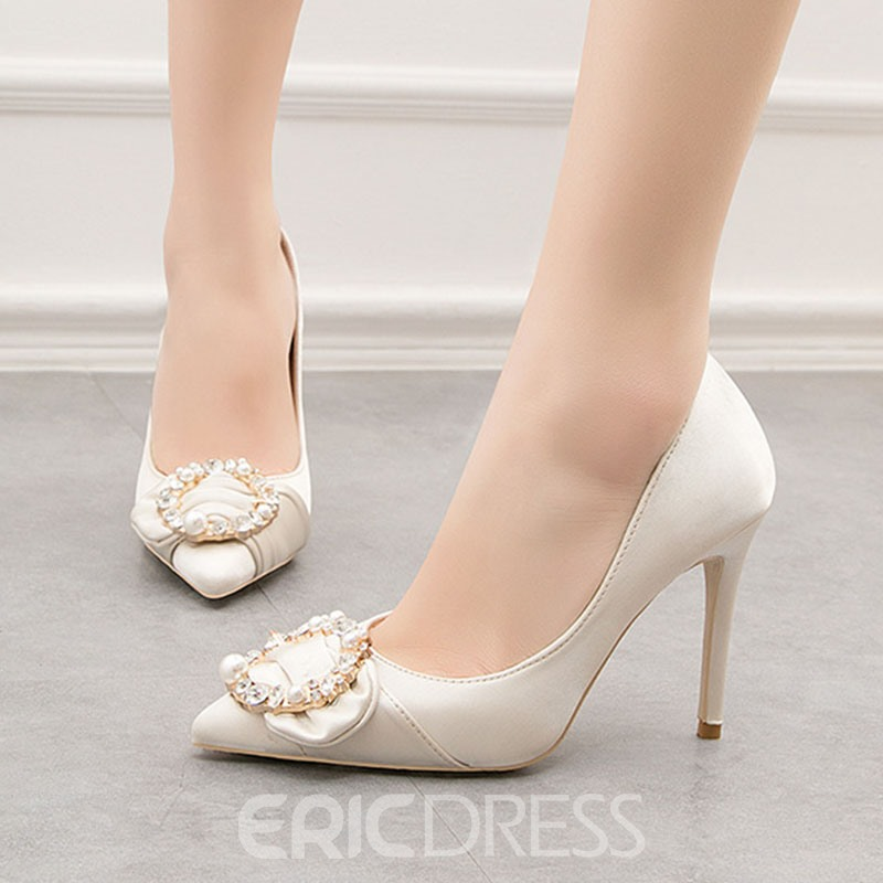 Ericdress Beads Silk Fabric Pointed Toe Stiletto Heel Women's Pumps