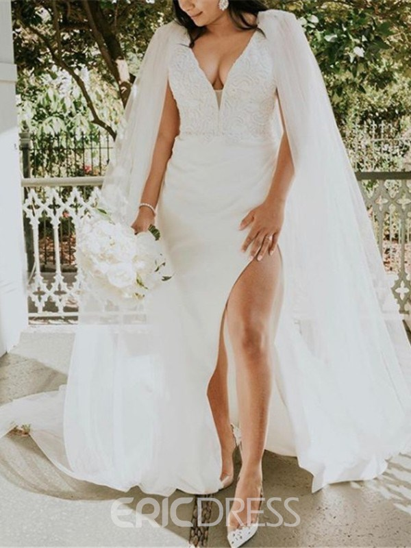 Ericdress Mermaid V-Neck Split-Front Lace Wedding Dress with Train