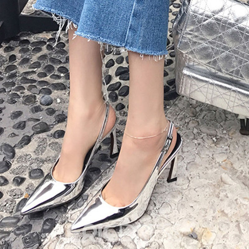 Ericdress PU Pointed Toe Slingback Strap Horse-Shoe Heel Women's Pumps