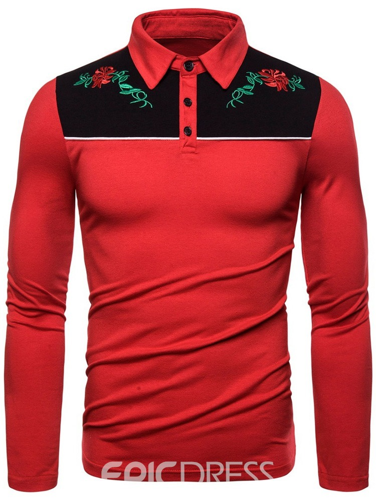 Ericdress Embroidery Fashion Color Block Men's Polo Shirt