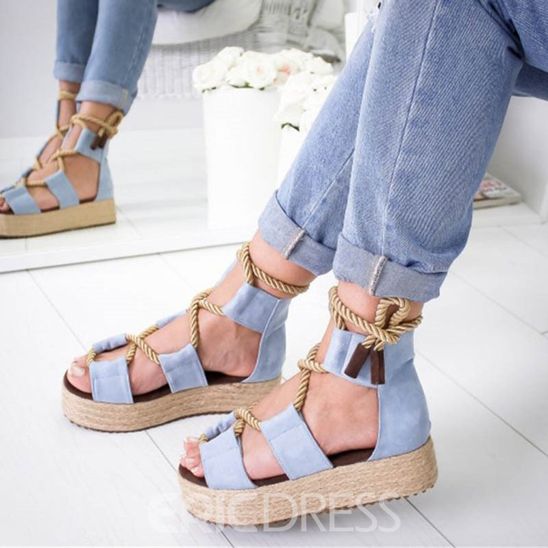 Ericdress Color Block Lace-Up Heel Covering Wedge Heel Women's Sandals