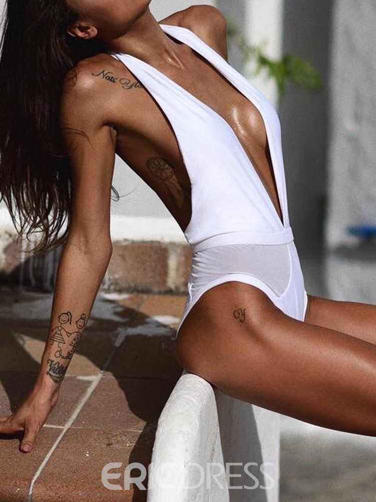 Ericdress Beach Look V-Neck Patchwork Lace-Up Swimwear