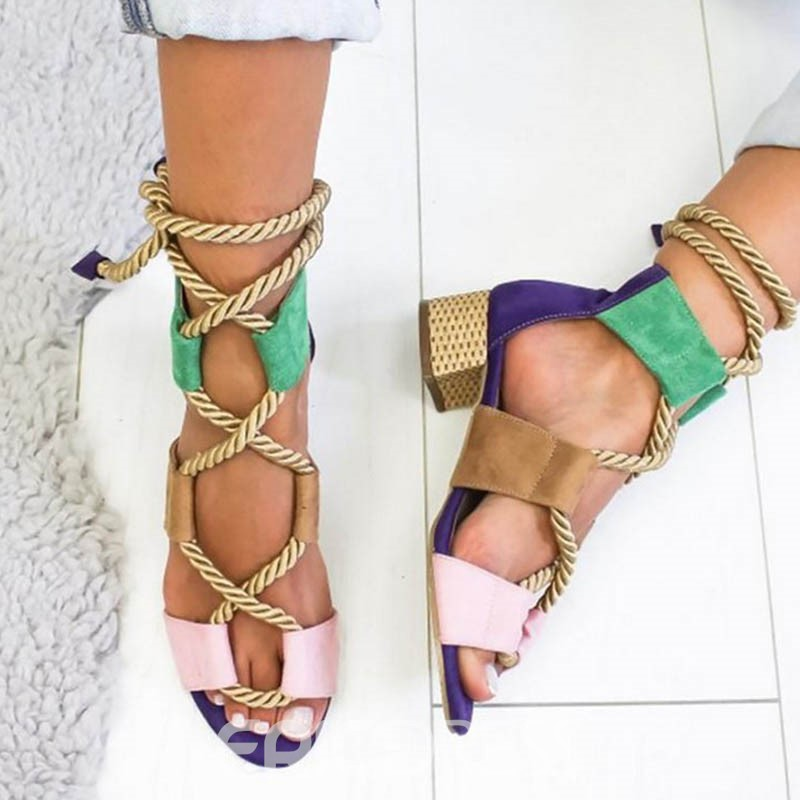 Ericdress Color Block Open Toe Lace-Up Chunky Heel Women's Sandals