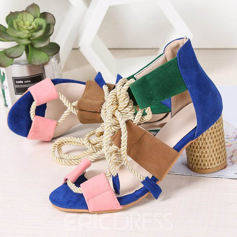 Ericdress PU Open Toe Chunky Heel Lace-Up Women's Sandals