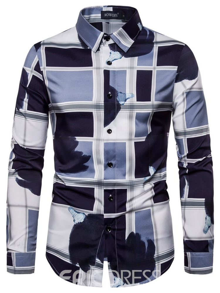 Ericdress Print Lapel Fashion Men's Single-Breasted Shirt