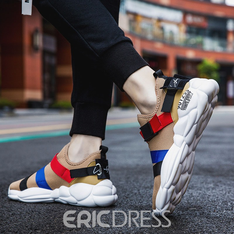 Ericdress Mesh Color Block Slip-On Round Toe Men's Sneakers