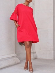 Ericdress Flare Sleeve Pocket Casual Above Knee Round Neck Summer Dress фото