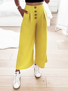 Ericdress Loose Plain Full Length High Waist Casual Pants