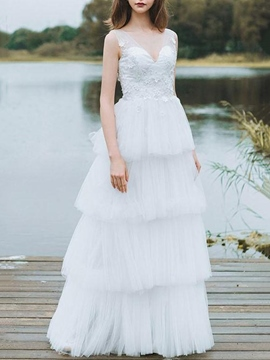Ericdress Appliques V-Neck Tiered Outdoor Wedding Dress 2019