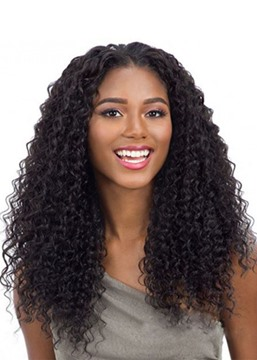 Ericdress 100% Virgin Human Hair Women's Kinky Curly Wigs Long Length Lace Front Wigs 22Inches