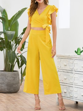 Ericdress Ruffles Plain Fashion Women's Suit T-Shirt And Pants Two Piece Sets