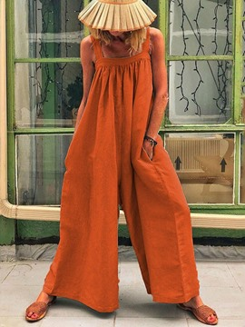 Ericdress Pleated Plain Casual Loose High Waist Jumpsuit