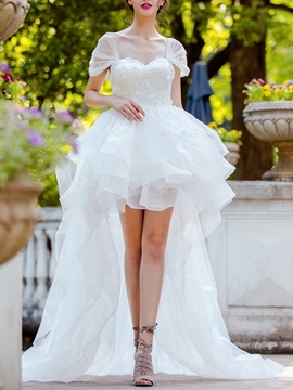 Ericdress Ball Gown Appliques High Low Outdoor Wedding Dress