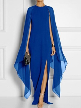 Ericdress Round Neck Split Floor-Length Asymmetric Chiffon Party Dress