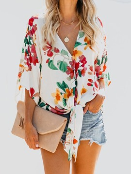 Ericdress Print Floral V-Neck Three-Quarter Sleeve Loose Chiffon Blouse