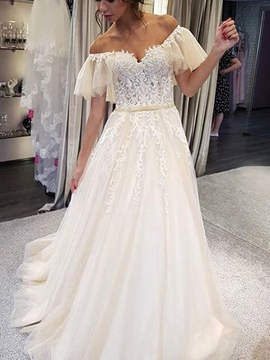 Ericdress Off-The-Shoulder Short Sleeves Appliques Wedding Dress 2019