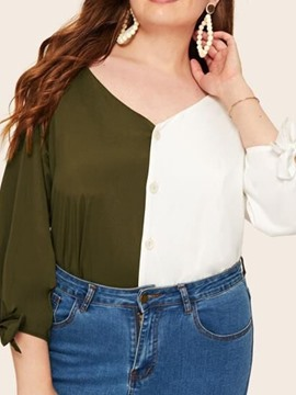 Ericdress Plus Size Color Block Button V-Neck Bowknot Loose Blouse