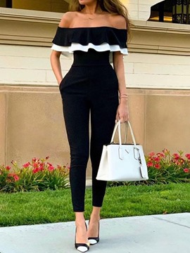 Ericdress Ruffles Color Block Off Shoulder Slim Jumpsuit