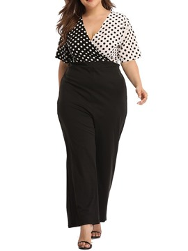 Ericdress Plus Size Polka Dots Patchwork High Waist Jumpsuit