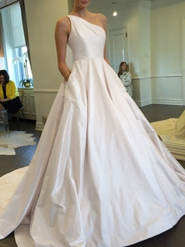 Ericdress A-Line Pockets One Shoulder Wedding Dress