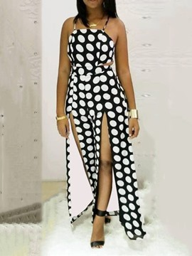 Ericdress Polka Dots Split Sexy High Waist Wide Legs Jumpsuit