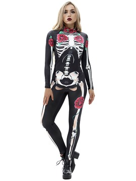 Ericdress Skull Print Milk Fiber Long Sleeve Halloween Costume