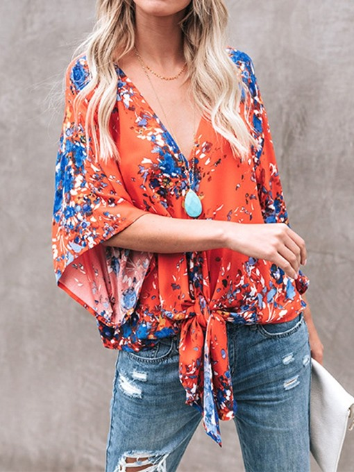 Ericdress V-Neck Print Color Block Flare Sleeve Lace-Up Blouse