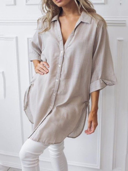 Ericdress Plain Button Lapel Mid-Length Casual Blouse