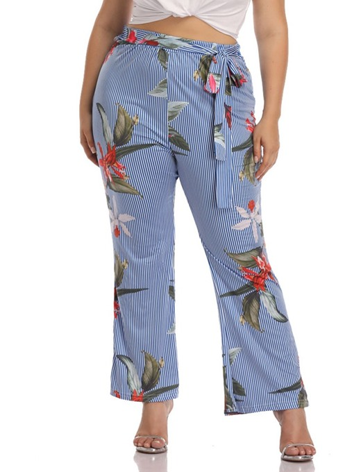 Ericdress Plus Size Print Floral Stripe Slim Casual Pants