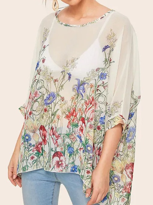 Ericdress Floral Round Neck Print Chiffon Mid-Length Loose Blouse