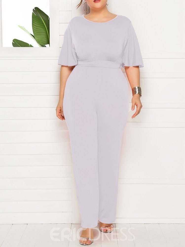 Ericdress Plus Size Full Length Plain High Waist Slim Jumpsuit