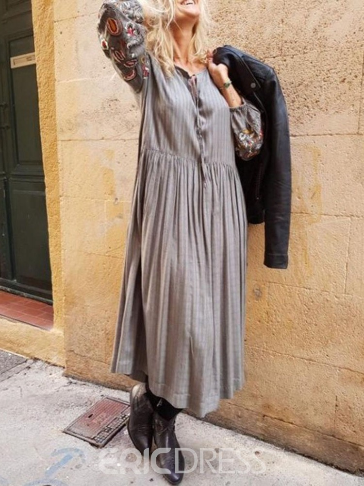 Ericdress Casual Pleated Lace-Up Embroidery Round Neck Dress