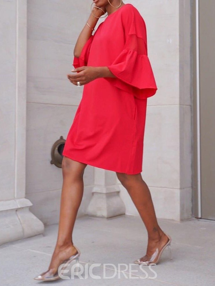 Ericdress Flare Sleeve Pocket Casual Above Knee Round Neck Summer Dress