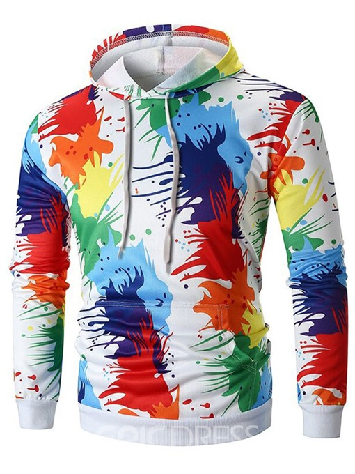 Ericdress Paint Splatters Pullover Color Block Men's Casual Hoodies