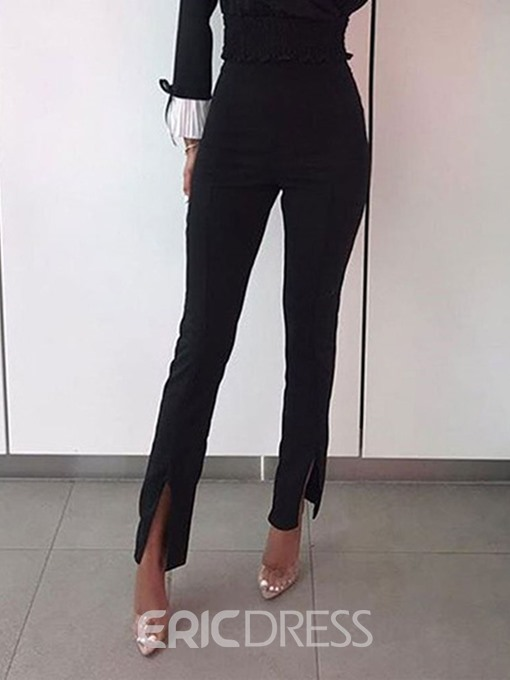 Ericdress Plain Slim Split High Waist Casual Pants
