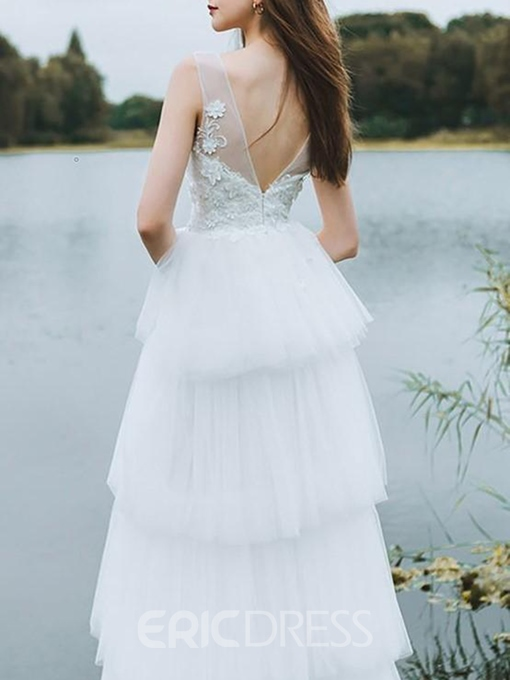 Ericdress Appliques V-Neck Tiered Outdoor Wedding Dress