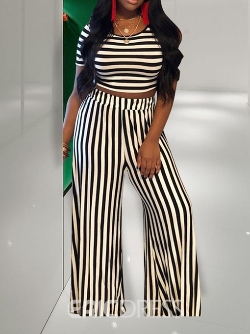 Ericdress Stripe Fashion Round Neck Straight T-Shirt And Pants Two Piece Sets