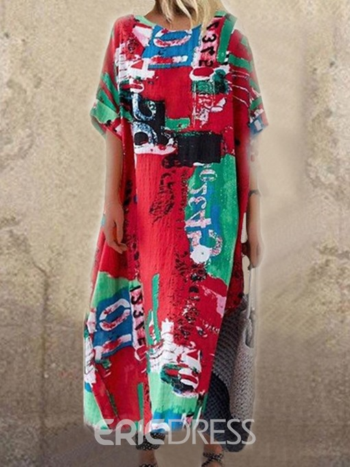 Ericdress Print Casual Mid-Calf Half Sleeve Number Straight Dress