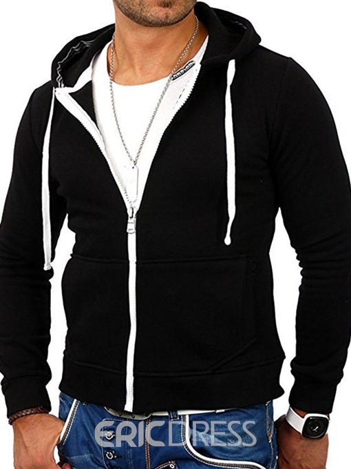 Ericdress Color Block Cardigan Men's Zipper Hoodies