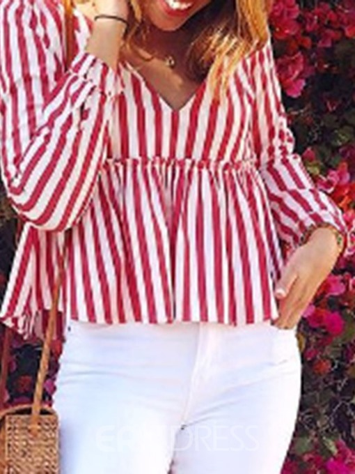 Ericdress Stripe V-Neck Pleated Standard Casual Blouse
